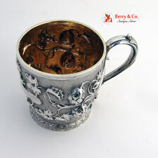 Fruit Vine Repousse Cup English Sterling Silver Fox 1851 No Monogram