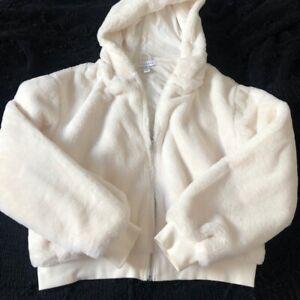 Topshop White/Cream Fluffy Faux Fur Zip Bomber Jacket Hoodie