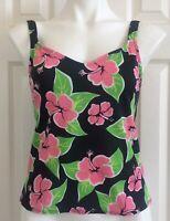 JANTZEN Tankini Swim Top Floral Hibiscus Tropical Black Pink Shelf Bra 10