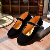 Women Flats Mary Jane Shoes Ballerina Ballet Velvet Fabric Buckle Casual Shoes