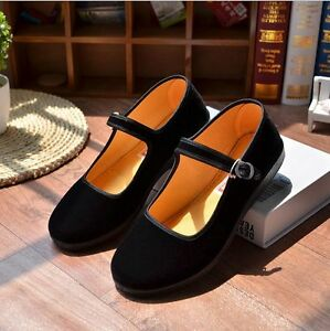 Chinese Retro Ladies Mary Jane Flat Heel Suede Dance Ballet Shoes Buckle Strap