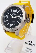 TW Steel reloj pulsera reloj hombre XXL 50 mm reloj negro Funda de cinta amarillo nuevo 13