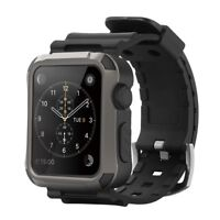Simpeak Rugged Protective Case w/ Black Straps For 42mm apple watch Series 3 2 1