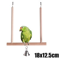 Birds Swing Wooden Perch Parrots Hanging Bell Cage Stand Holder Pendant Toy