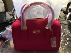 Coach Mini Bennett Satchel Crossgrain Leather Handbag Pink/ruby