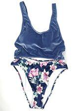 NEW Victoria's Secret PINK Velvet Cut-out One-Piece Swimsuit Floral Blue MEDIUM