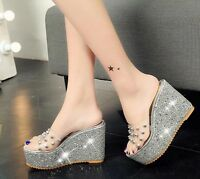 Womens Open Toe High Platform Wedge Heel Transparent Sandals Slippers Shoes Size