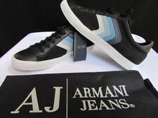 New Armani Jeans AJ Black Blue Stripes Leather Shoes Fashion Sneakers USA 6.5