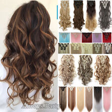 Real Thick 8 Piece CLIP IN HAIR EXTENTIONS FULL HEAD STRAIGHT CURLY WAVY Brown