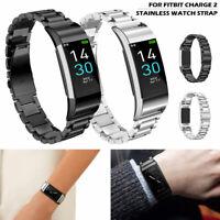 Pour Fitbit Charge 2 Montre en acier inoxydable Bracelet en métal Bracelet BR