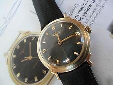 Solid 14k Gold Men's Vintage 1955 Longines Black Crosshair Dial Swiss 17J Watch
