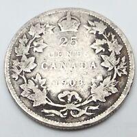 1903 Canada Twenty Five 25 Cents Quarter Silver Canadian Coin C248