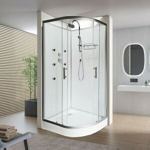 900x900mm Modern Quadrant Shower Room Cubicle Enclosure Cabin WITH MASSAGE JETS