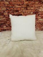 "Lucky Brand Diamond Matelasse 18"" Square Decorative Pillow White Cotton"