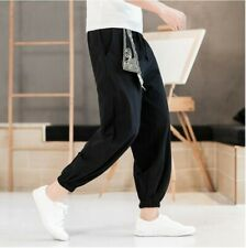 New Men Chinese Style Embroidered Cotton Linen Harem Pants Kung Fu Trousers Plus
