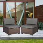 2 Pc Patio Rattan Outdoor Garden Sofa Sectional Furniture