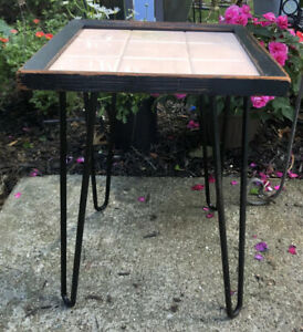 Vintage Wood Table Plant Stand Iron Hairpin Legs Pink Swirl Plastic Tile Top