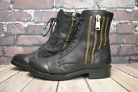 Womens Inuovo Black Leather Zip Fastening Low Heel Ankle Boots UK 6 EUR 39