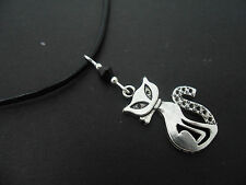 "A LADIES BLACK LEATHER CORD 13 - 14"" CHOKER WITH CAT CHARM NECKLACE ."