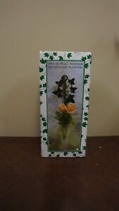 """12"""" metal wall hanger with 6.5"""" glass planter"""
