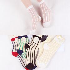 Fashion Cute 5 Pairs Womens Socks Transparent Vintage Retro Sheer Mesh Striped