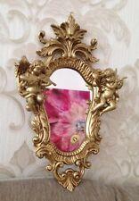Wandspiegel Gold,Weißgold Barock Oval Engel Spiegel Antik 36x23 Badspiegel