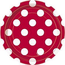 Decoración y menaje platos color principal rojo para mesas de fiesta