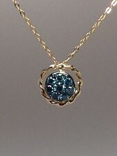 14K Yellow Gold Blue Diamond Cluster Pendant with Braided Gold Border 0.25ct