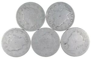 5 Better Date 1892 1890 1890 1884 Worn Date Liberty V Nickel Collection Lot *065