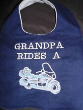 GRANDPA RIDES A MOTORCYCLE -FUN BIB ( Grandma, Daddy or Mommy)