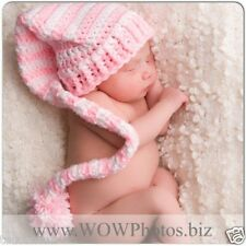 CROCHET BABY PINK AND WHITE STRIPED LONG TAIL ELF HAT  - PINK LONGTAIL ELF HAT