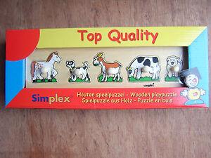 Wooden Peg Puzzle.Simplex brand. Farm Animals.Delivery guaranteed