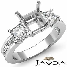 Three Stone Diamond Wedding Ring Platinum 950 Princess Asscher Semi Mount 1.1Ct