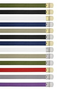 """Rothco Military Color Web Belts Silver Plated Or Brass Plated Buckle-44""""-54""""-64"""