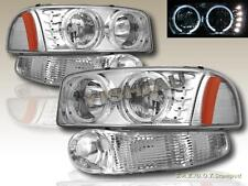 00-06 GMC SIERRA DENALI /YUKON DENALI HALO HEADLIGHTS LED CHROME W/BUMPER LIGHTS