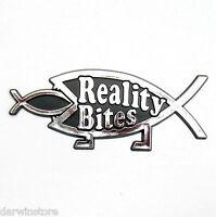 Reality Bites Car BADGE DARWIN atheist secular emblem