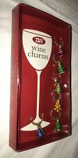 Set 6 Boston Warehouse Christmas/Holiday Colorful Trees Wine Charms/Markers New