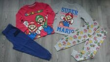 2x BUNDLE SUPER MARIO BOY PYJAMAS SET LONG SLEEVE TOP BOTTOM 3/4 YRS