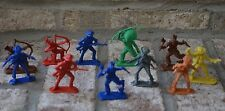 Vintage Lot Plastic Cowboys & Indian Figures Toy Made in Hong Kong ~ Cool Colors
