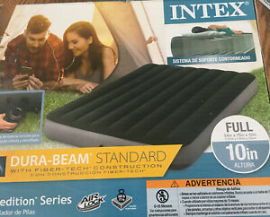 """Intex Full 10"""" DuraBeam Expedition Airbed Mattress with Battery Pump New 600 Lb"""