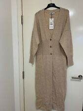 Zara Sand Wool Blend Maxi Cardigan with Ribbed Waist Size M BNWT