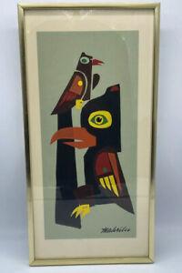 """Colorful Pacific Northwest Coast Native Haida Style Raven Framed 16"""" X 8"""" Signed"""