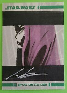2008 topps ASAJJ VENTRESS sketch card art ROBERT TERANISHI star wars CLONE WARS