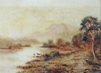 SIDNEY YATES JOHNSON - ON THE CONWAY RIVER - OIL PAINTING -C1899 - FREE SHIP US