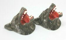 Set of 2 Vintage Cub Scout Viscous Wolf Chalkware Heads Wall Hangings Decor