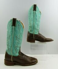 Ladies Justin Buckaroo Brown Mint Leather Square Toe Western Boots Size: 6.5 B