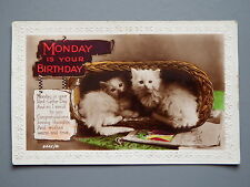 R&L Postcard: Monday is Your Birthday, Greetings, Cats Kittens in Basket