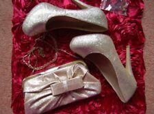 ❄️ New UK 5 Eu 38 Gold Glitter hidden platform high heels Shoes Matching bag