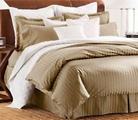 Chaps Home Damask Stripe Full Queen Oatmeal Comforter Set with Shams Cotton 3 Pc