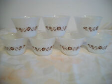 VINTAGE OVENWARE CUSTARD FRUIT PUDDING BOWLS WITH BROWN FLOWERS SET OF 7